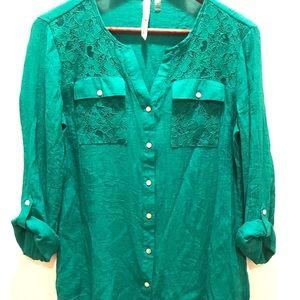 NY Collection teal lace detail blouse